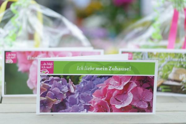 Geschenkgutschein 50€ - Motiv: Blühende Hortensien