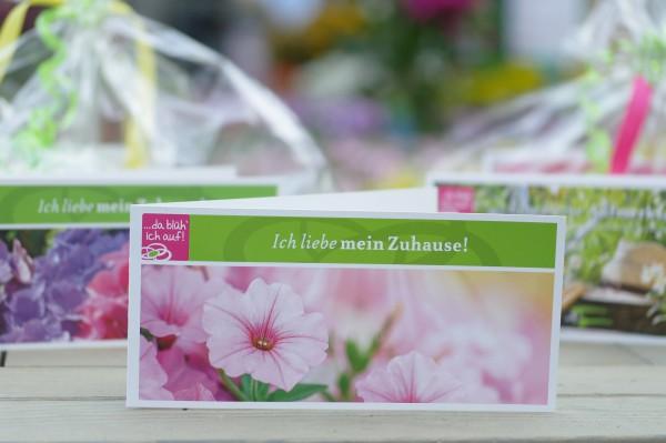 Geschenkgutschein 15€ für die Landgärtnerei Beier - Motiv: Rosa Petunie