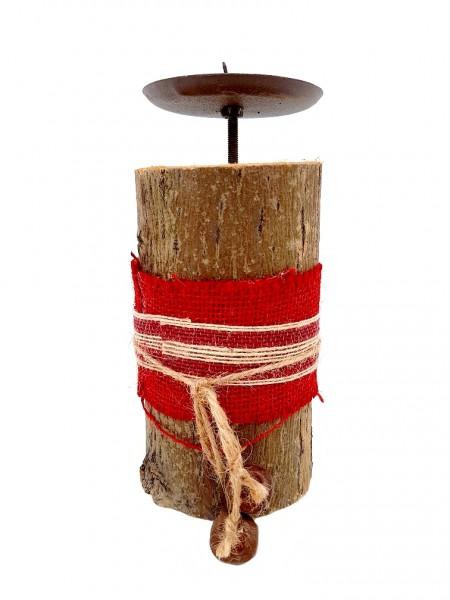 Baumstamm mit Kerzenteller - D8x17cm