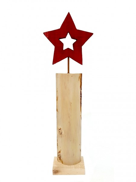 Steele mit rotem Stern - 18,5x8x60,5cm